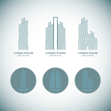 abstract building: Abstract Real Estate Logo Design Template for Company. Building Vector Silhouette.