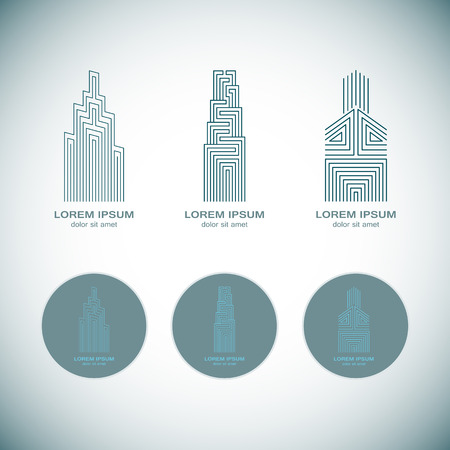 Abstract Real Estate  Design Template for Company. Building Vector Silhouette. Vectores