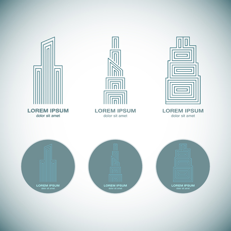 building estate: Abstract Real Estate Logo Design Template for Company. Building Vector Silhouette.