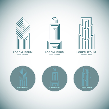 Abstract Real Estate Logo Design Template for Company. Building Vector Silhouette.