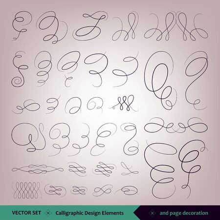 Vector set of calligraphic elements for design. and page design