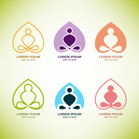 health and wellness: vector yoga logo elements. Wellness, spa, health and cosmetics emblem collection. Illustration