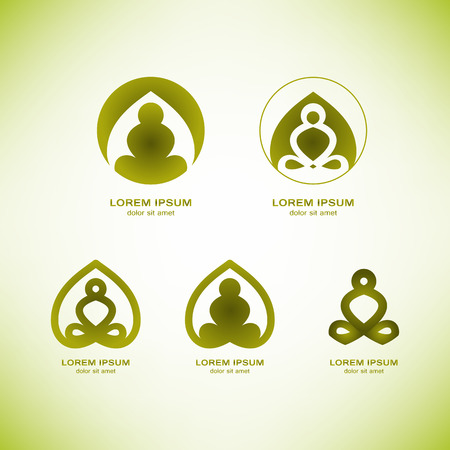 vector yoga logo elements. Wellness, spa, health and cosmetics emblem collection. Vectores