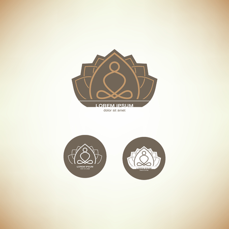organic spa: vector yoga logo elements. Wellness, spa, health and cosmetics emblem collection. Illustration