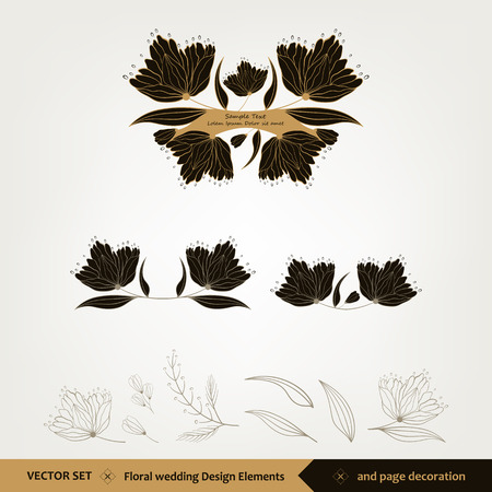 Floral wedding Design and elements, page decoration Vectores