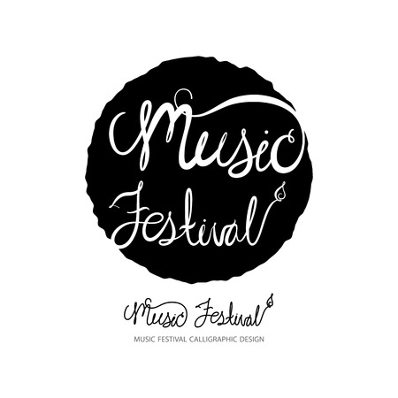 Music Festival   silhouette ,  music background, music design elements with calligraphic, illustration, vector