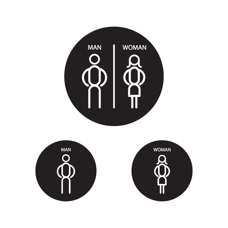 Restroom male and female sign vector illustration, Man and lady toilet sign, Toilet Sign