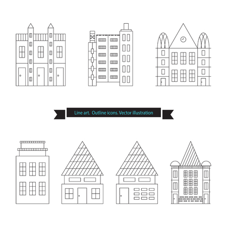 Architecture outline icons, Set of Flat Style Line Art Vector Illustrations for Countryside Houses, Real estate and icons in thin line style, House vector set, vectorized buildings