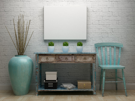 blank canvas: Blank canvas with vintage interior