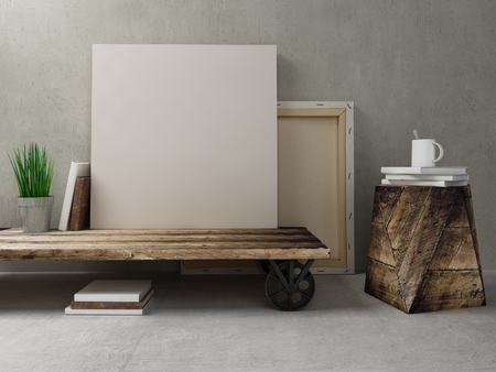Blank canvas on the coffee table rustic wood