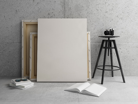 blank canvas: Blank Canvas Mockup with modern concrete interior Stock Photo