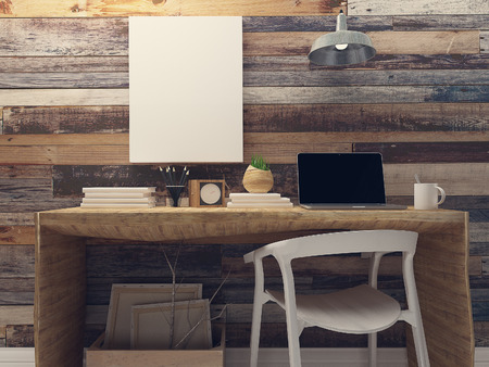 Blank canvas mockup on rustic wood wall retro interior