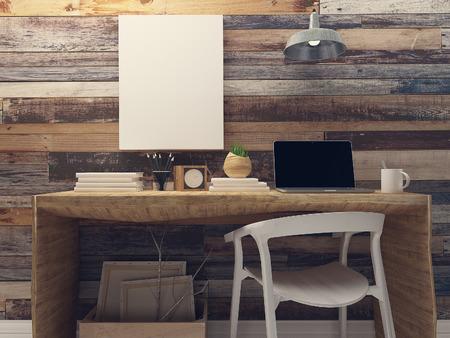 blank canvas: Blank canvas mockup on rustic wood wall retro interior