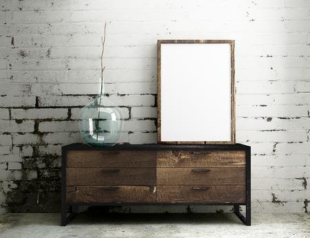 marco madera: maqueta marco vacío colgar en la mesa industrial con el interior blanco de ladrillo sucia