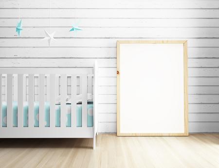 nursery room: Empty poster frame displaying at nursery interior room