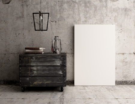 Empty canvas poster on rustic industrial concrete interior