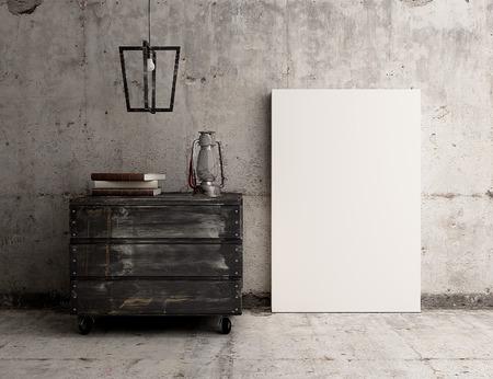 Empty canvas poster on rustic industrial concrete interior Stockfoto