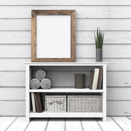 Empty frame wood at table dresser with white wood background