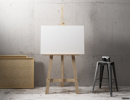 canvas mockup hang on easle