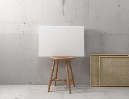 캔버스 모형은 의자에 매달린다.
