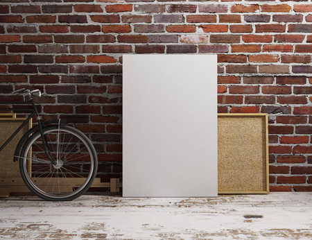 canvas mockup hang with  industrial loft background