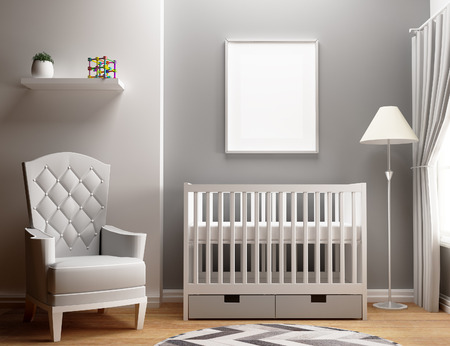 blank poster mockup with baby bedroom 免版税图像