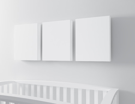 blank canvas with baby cots