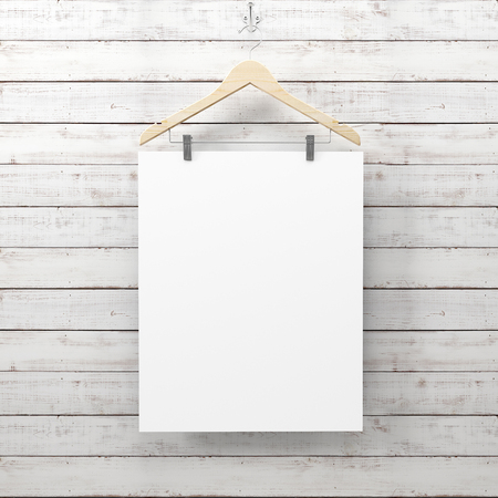 blank poster hang using hanger