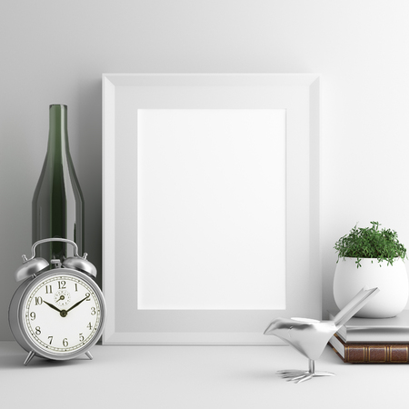 blank frame on desk with white background