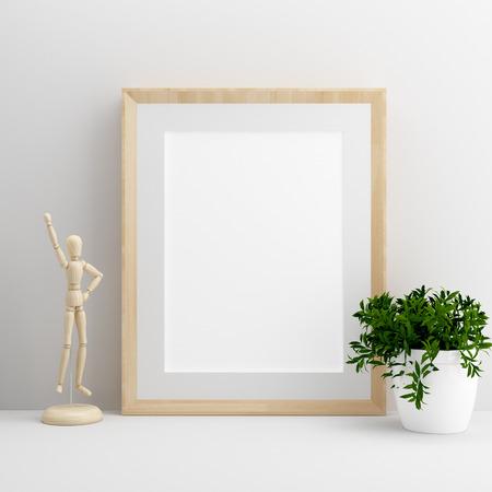 blank wooden frame on desk