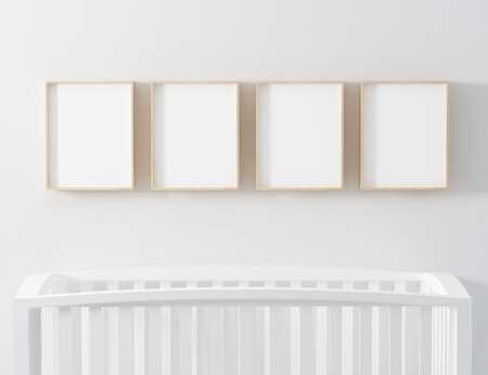 simple frame: four blank wooden frame mockup Stock Photo
