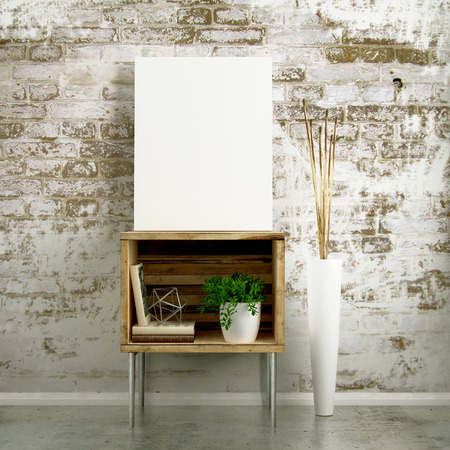 canvas mockup industrial side table