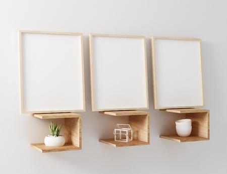 frame mockup 3 panel floating shelve
