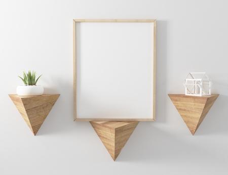 Frame Mockup floating triangle shelve Stock Photo