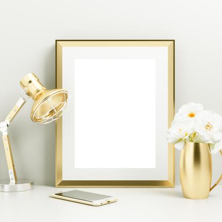 frame mockup gold theme