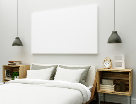 canvas mockup on interior bedroom 免版税图像