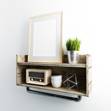 frame mockup on industrial floating shelve 免版税图像