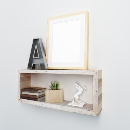 frame mockup on floating shelves
