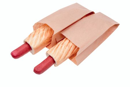 hot dogs in a paper bag Stock Photo