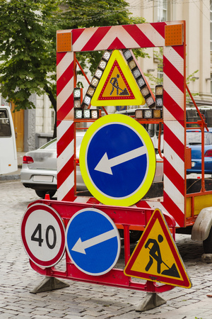 Road signs for road marking when repairing a road in a city Reklamní fotografie