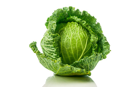 Green Savoy cabbage with reflection isolated on white background