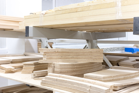 wooden blocks in the carpentry shop furniture Stockfoto