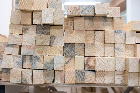 wooden blocks in the carpentry shop furniture Stock Photo