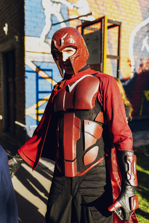 September 22, 2018 Kiev, Ukraine, Art Plant Platform. festival of modern pop culture COMIC CON, man in the costume of the superhero Magneto Publikacyjne