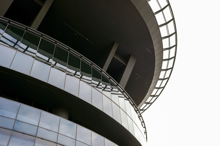 concrete base platform for a helipad above a tall building Stock Photo