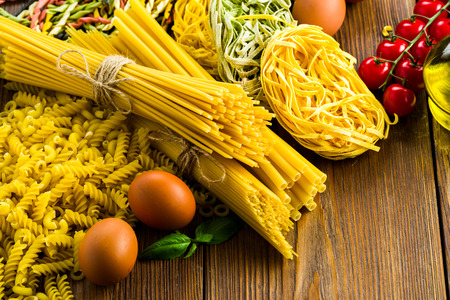 a variety of raw pasta from different flour and different manufacturers 写真素材