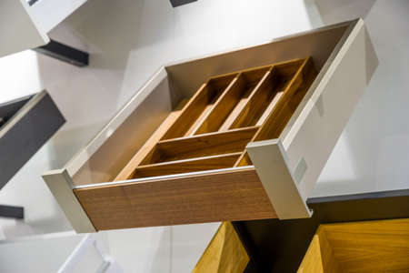 wooden furniture drawers at the exhibition Archivio Fotografico - 150784401