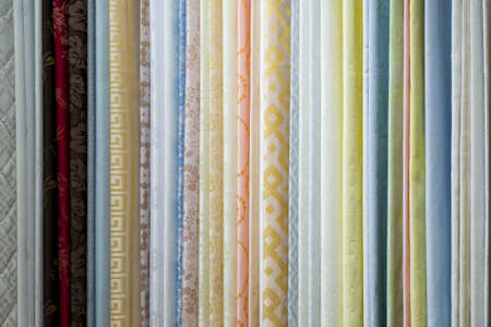 fabric samples in the textile store, examples of upholstery fabric for furniture Stock Photo