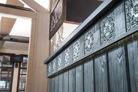 bar of wood with ceramic tiles