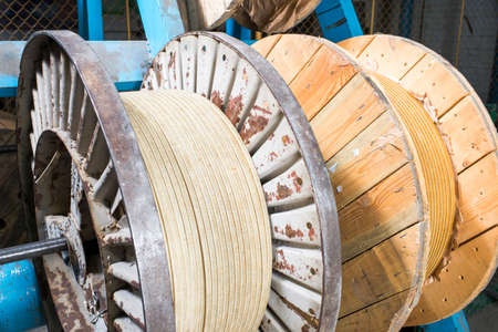 wood and industrial metal coil wire